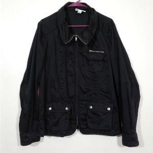 Style & Co Black Utility Jacket Zipper Pocket Snap
